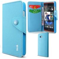 Чехол портмоне на кнопочной застежке для HTC Desire 600 Голубой