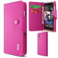 Чехол портмоне на кнопочной застежке для HTC Desire 600 Розовый