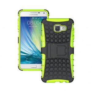 Антиударный гибридный силиконовый чехол с поликарбонатной крышкой и встроенной ножкой-подставкой для Samsung Galaxy A7 (2016) Зеленый