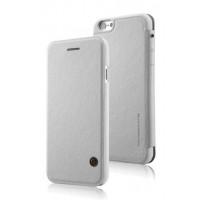 Кожаный дизайнерский чехол-флип с отделением для карт для Iphone 6 Белый