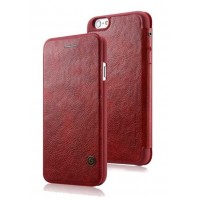 Кожаный дизайнерский чехол-флип с отделением для карт для Iphone 6 Красный