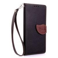 Текстурный чехол портмоне подставка с дизайнерской застежкой для Huawei Mate 8 Черный
