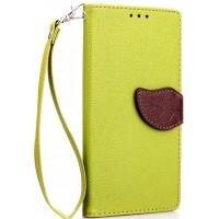 Текстурный чехол портмоне подставка с дизайнерской застежкой для Huawei Mate 8 Зеленый