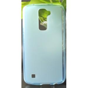 Силиконовый матовый полупрозрачный чехол для LG K10 Голубой