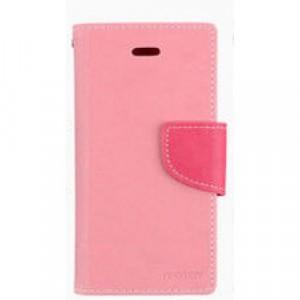 Чехол портмоне подставка на силиконовой основе с тканевым покрытием на дизайнерской магнитной защелке для LG K10 Розовый