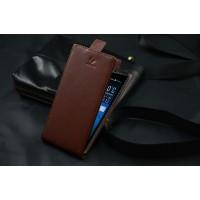Клеевой чехол вертикальная книжка для Acer Liquid E700 Коричневый