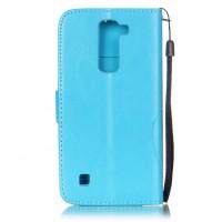 Чехол портмоне подставка текстура Узоры на силиконовой основе на дизайнерской магнитной защелке для LG K7 Голубой
