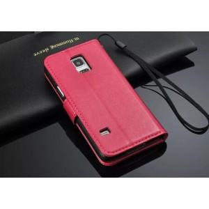 Чехол портмоне подставка глянцевая кожа для Samsung Galaxy S5 Mini Пурпурный