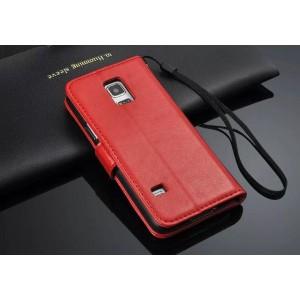 Чехол портмоне подставка глянцевая кожа для Samsung Galaxy S5 Mini Красный