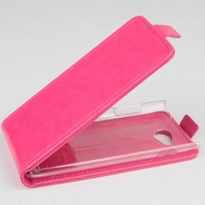 Чехол вертикальная книжка на пластиковой основе для Philips i928 Розовый