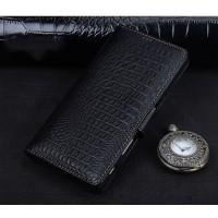 Кожаный чехол портмоне подставка (премиум нат. кожа крокодила) с крепежной застежкой для Sony Xperia XA Ultra Черный