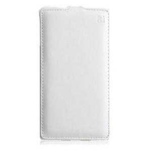 Кожаный чехол вертикальная книжка для Samsung Galaxy Core 2 Белый