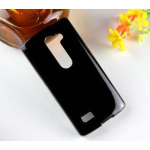 Силиконовый глянцевый полупрозрачный чехол для LG Leon Черный