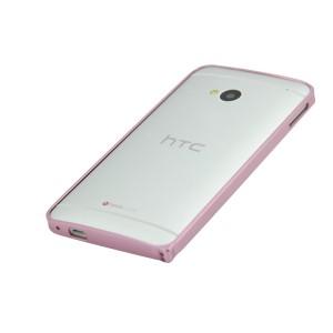 Металлический бампер для HTC One (M7) Dual SIM Розовый