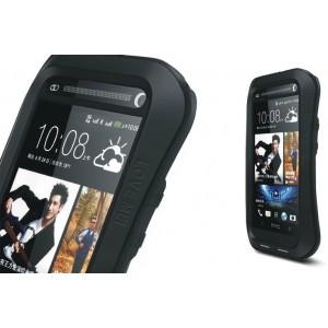 Эксклюзивный многомодульный ультрапротекторный пылевлагозащищенный ударостойкий чехол алюминиевый сплав/силиконовый полимер для HTC One (М7) Dual SIM Черный