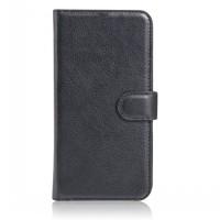 Чехол портмоне подставка на пластиковой основе на магнитной защелке для HTC One (M7) Dual SIM Черный