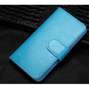 Чехол портмоне подставка на клеевой основе на магнитной защелке для Highscreen Power Five EVO Голубой