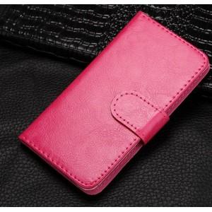 Чехол портмоне подставка на клеевой основе на магнитной защелке для Highscreen Power Five EVO Розовый