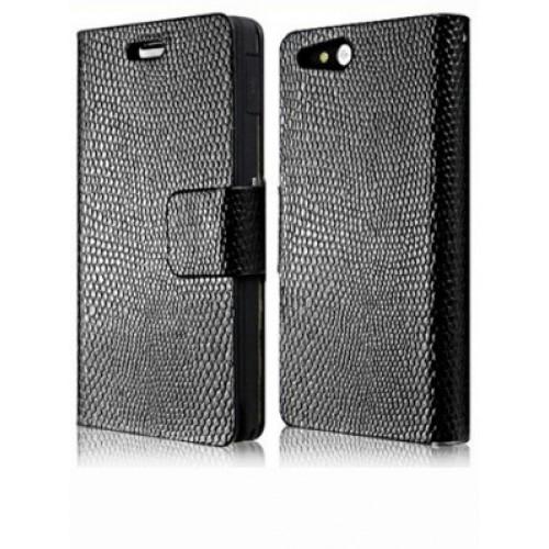 Чехол кожаный книжка горизонтальная на клеевой основе для Sony Xperia go Черный