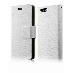 Чехол кожаный книжка горизонтальная на клеевой основе для Sony Xperia go Белый