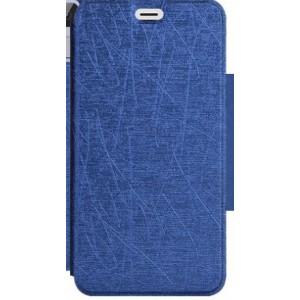 Чехол горизонтальная книжка текстура Линии на силиконовой основе для Highscreen Power Ice Синий