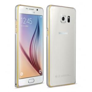 Металлический бампер с золотой окантовкой для Samsung Galaxy S6 Серый