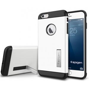 Силиконовый премиум чехол с поликарбонатной крышкой и функцией подставки для Iphone 6 Plus Белый