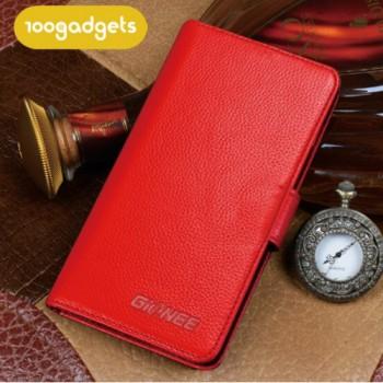 Кожаный чехол портмоне (нат. кожа) для Fly Universe 5.7 IQ457 Красный