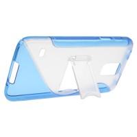 Силиконовый чехол S подставка для Samsung Galaxy S5 Голубой