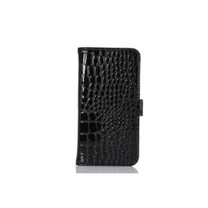 Чехол портмоне подставка с защелкой текстура Крокодил для Samsung Galaxy S6 Черный