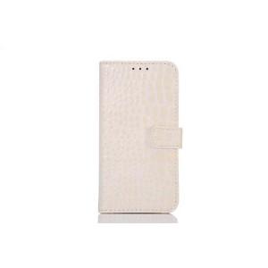 Чехол портмоне подставка с защелкой текстура Крокодил для Samsung Galaxy S6 Белый