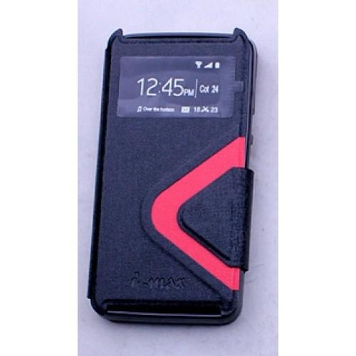 Текстурный чехол смарт флип с окном вызова и магнитной застежкой для Acer Liquid Z410 Черный