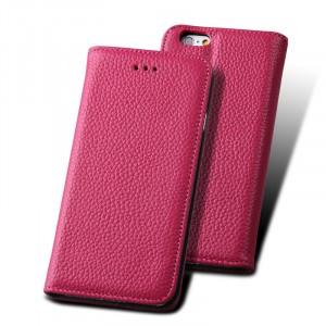 Кожаный чехол флип подставка со слотом для карты для Iphone 6 Plus Розовый