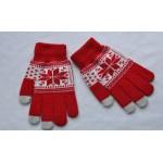 Шерстяные-акриловые сенсорные перчатки с вышивкой дизайн Снежинка
