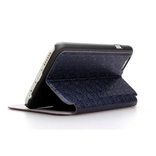 Чехол флип подставка на пластиковой основе с окном вызова и свайпом текстурный Тетрис для Iphone 6 Plus Коричневый