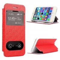 Чехол флип подставка на пластиковой основе с окном вызова и свайпом текстурный Тетрис для Iphone 6 Plus Красный