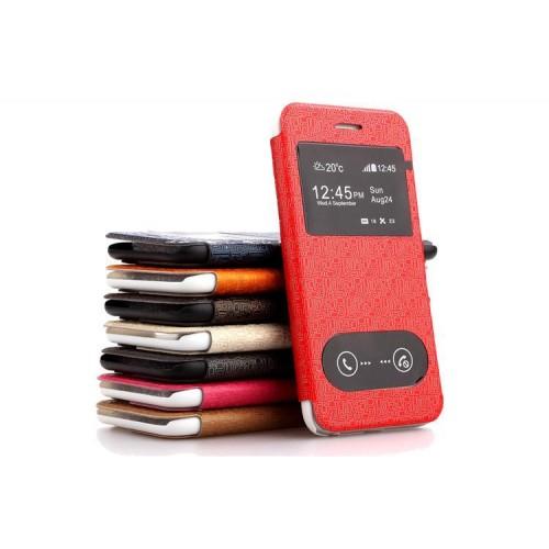 Чехол флип подставка на пластиковой основе с окном вызова и свайпом текстурный Тетрис для Iphone 6 Plus