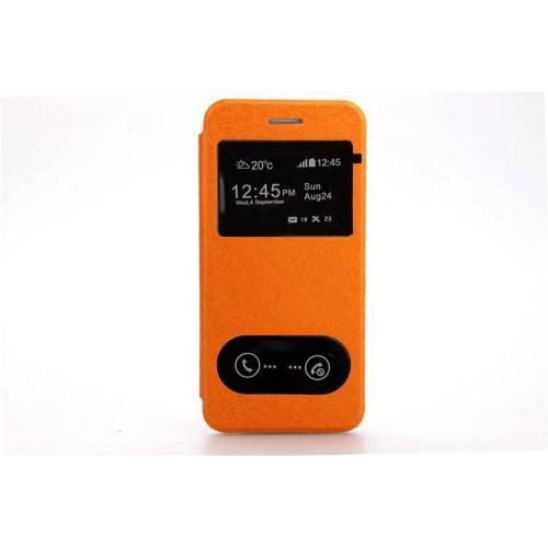 Чехол флип подставка на пластиковой основе с окном вызова и свайпом текстурный Тетрис для Iphone 6 Plus Синий