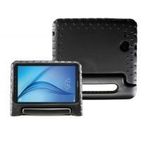 Ударостойкий детский силиконовый матовый гиппоаллергенный непрозрачный чехол с встроенной ножкой-подставкой для Samsung Galaxy Tab E 9.6 Черный