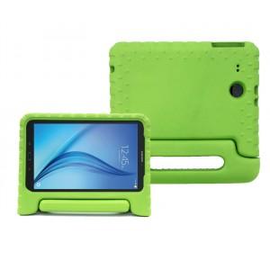Ударостойкий детский силиконовый матовый гиппоаллергенный непрозрачный чехол с встроенной ножкой-подставкой для Samsung Galaxy Tab E 9.6