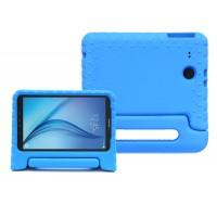 Ударостойкий детский силиконовый матовый гиппоаллергенный непрозрачный чехол с встроенной ножкой-подставкой для Samsung Galaxy Tab E 9.6 Синий