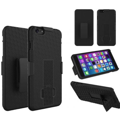 Пластиковый двухкомпонентный чехол подставка с защитной накладкой экрана и клипсой для Iphone 6 Plus