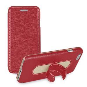 Кожаный чехол флип подставка с ножкой-вкладышем (нат. кожа) для Iphone 6 Plus