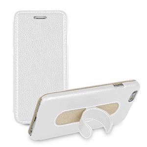 Кожаный чехол флип подставка с ножкой-вкладышем (нат. кожа) для Iphone 6 Plus Белый
