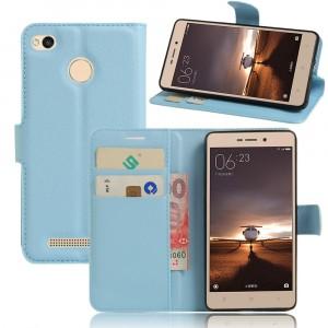 Чехол портмоне подставка на силиконовой основе на магнитной защелке для Xiaomi RedMi 3 Pro/3S Голубой