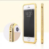 Металлический глянцевый чехол с инкрустацией стразами для Iphone 6 Желтый