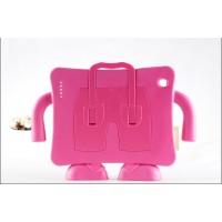 Ударостойкий детский силиконовый матовый гиппоаллергенный непрозрачный чехол с встроенной ножкой-подставкой для Ipad 2/3/4 Розовый