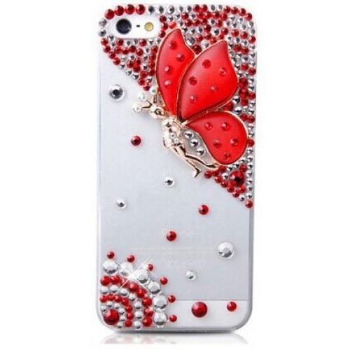 Пластиковый транспарентный чехол с аппликацией из страз Бабочка для Iphone 6 Plus Красный