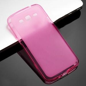Силиконовый матовый полупрозрачный чехол для Samsung Galaxy Grand 2 Розовый