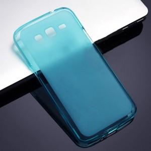 Силиконовый матовый полупрозрачный чехол для Samsung Galaxy Grand 2 Голубой